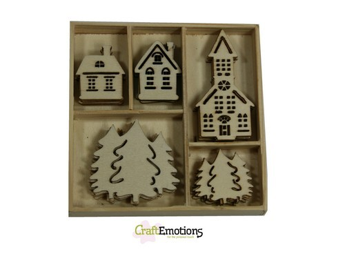 CE: Houten ornament; 25 x Home for Christmas, huisjes - kerk