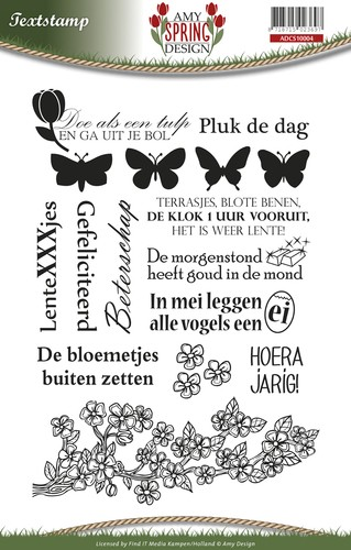 Amy Design - Spring: Clear stamp; Tekst