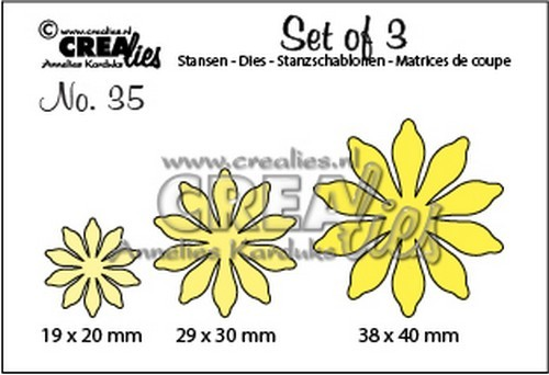 Crealies: Set of 3; 35, Bloemen 17