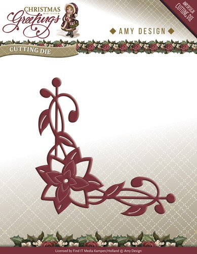Amy Design - Christmas Greetings: Die, Poinsettia Corner