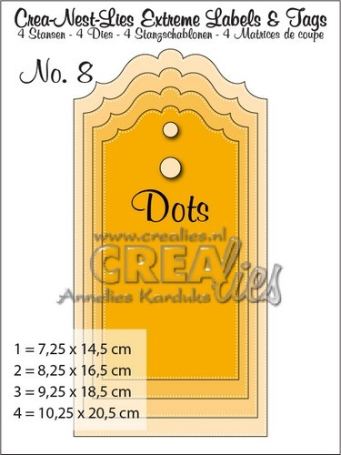 Crealies: EXTREM labels and tags with dots; 10,25 x 20,5 cm