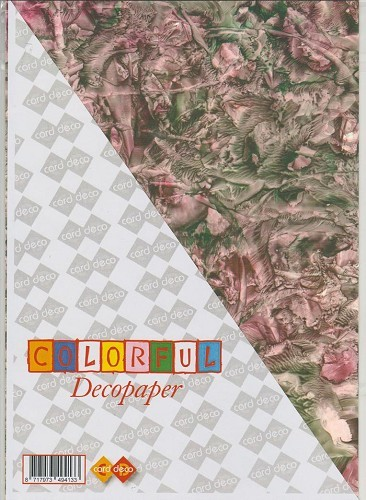 Carddeco: Decopaper A4; 5 pcs 200grs, Rose-Green