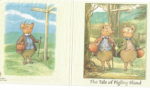 3 x servet: Beatrix potter; The Tale of Pigling Bland