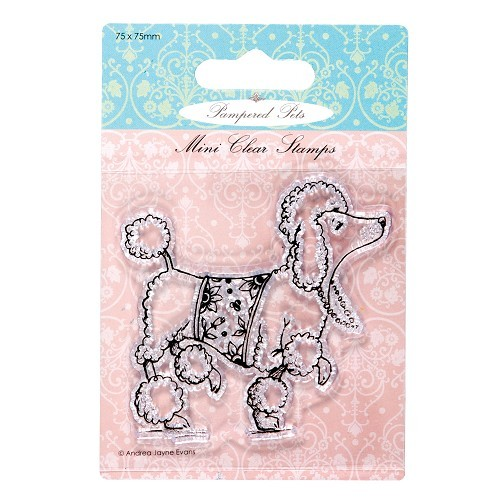 75 x 75mm mini clear stamps - pampered pets (poodle)