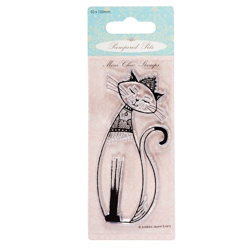 50 x 100mm mini clear stamps - pampered pets (queen of cats)